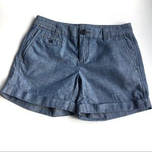 Banana Republic Chambray Flat Front Shorts Size 0
